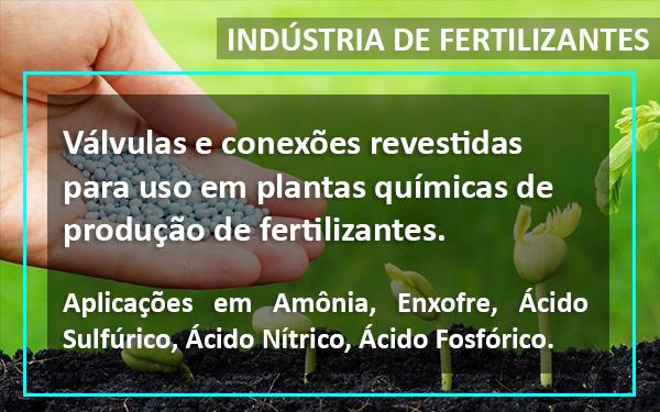 Válvulas especiais para indústria de fertilizantes