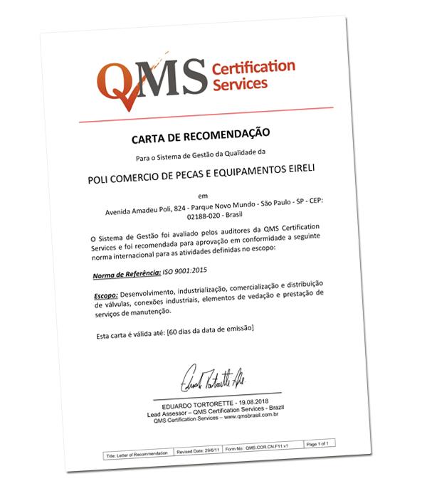 Poligeomeca conquista recomendação para nova versão da Norma ISO 9001:2015!