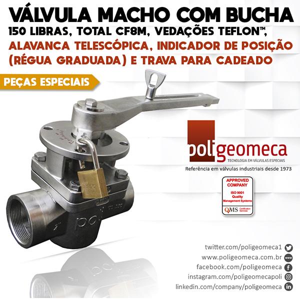 Válvula Macho c/ alavanca telescópica, régua graduada e trava p/ cadeado